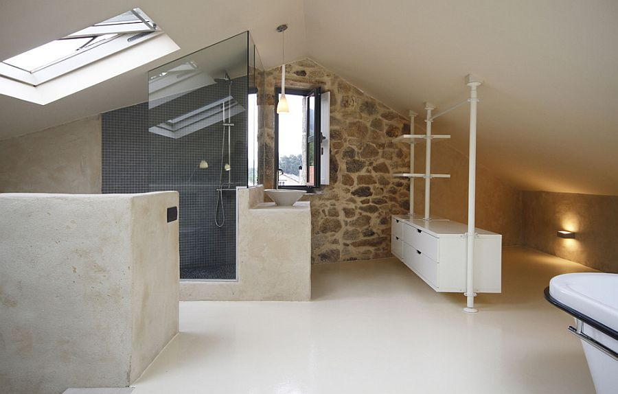 Skylight brings natural light into the upper level bathroom and bedroom