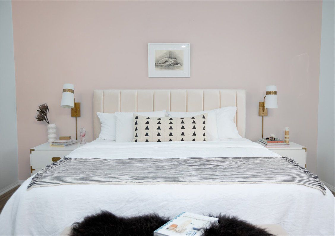 Soft pink bedroom featuring Blushing Bride paint