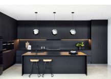 Stainless-steel-pendants-for-the-kitchen-with-black-backdrop-and-smart-shelving-217x155