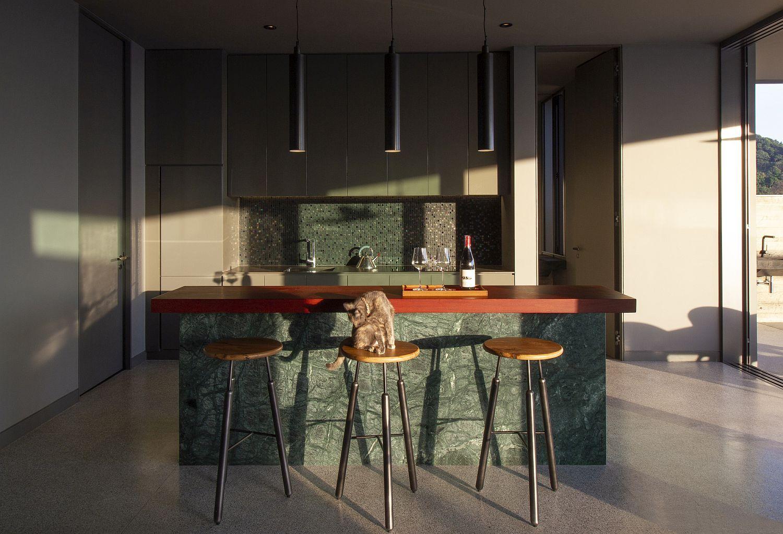 Stone kitchen island at the Kalim Beach House