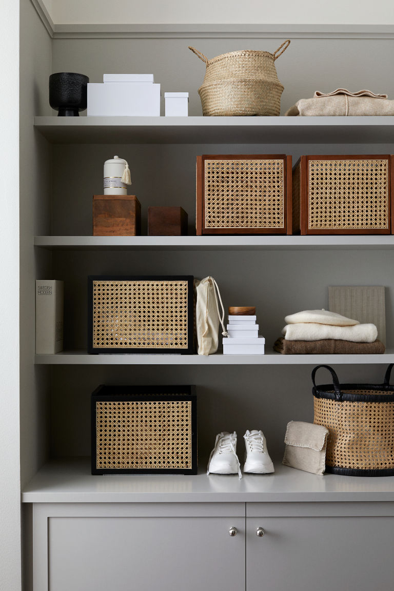 Storage solutions such as earthy baskets