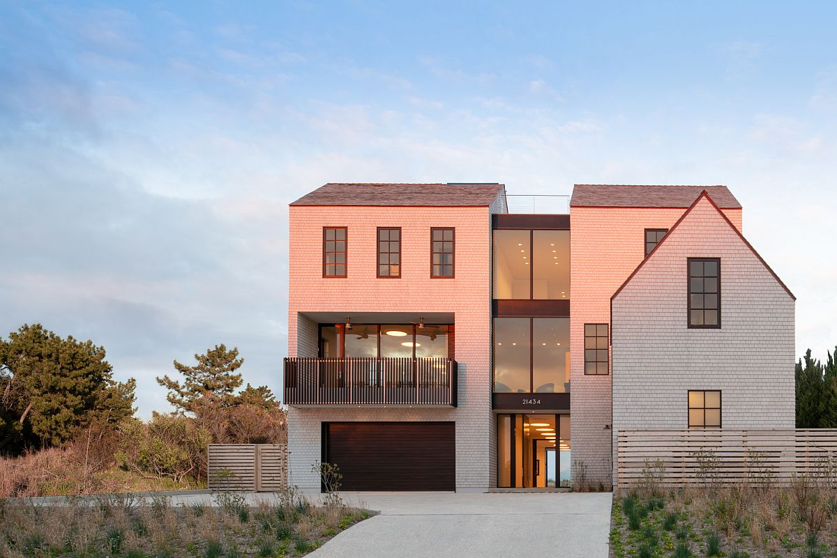 Street facade of East Lake Beach House offers complete privacy while welcoming everyone gleefully