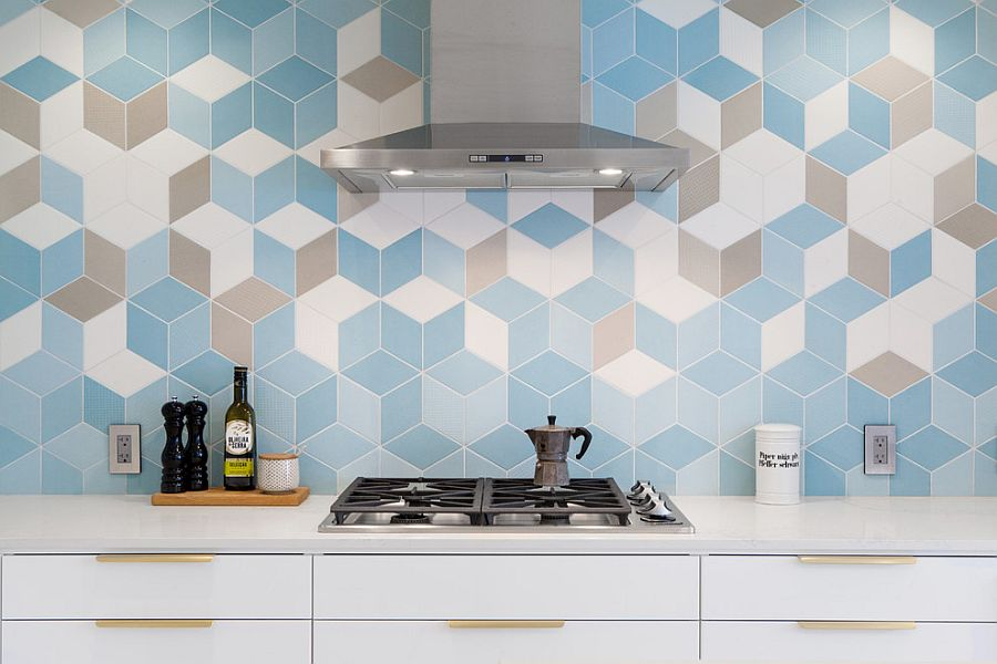 Striking hexagonala wall tiles with 3D pattern create a lovely kitchen backsplash