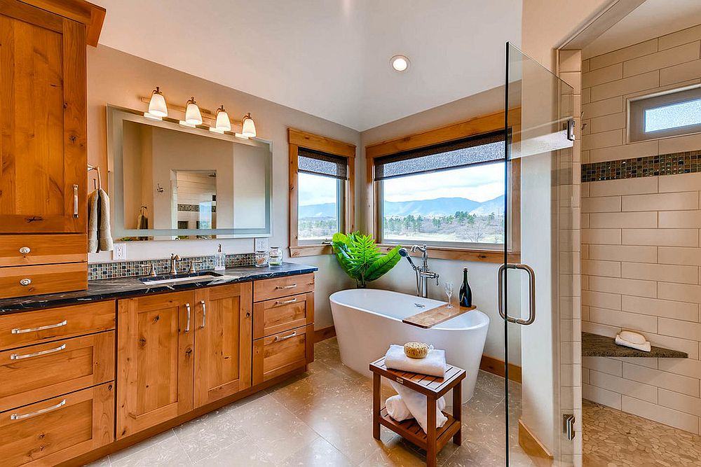 Try out the understated spa-inspired look in the bathroom that combines modernity with craftsman look