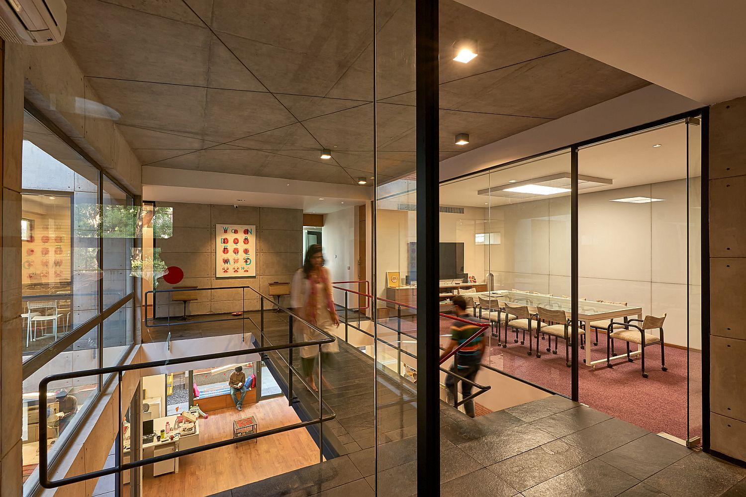 Upper level meeting rooms and workspaces inside the studio