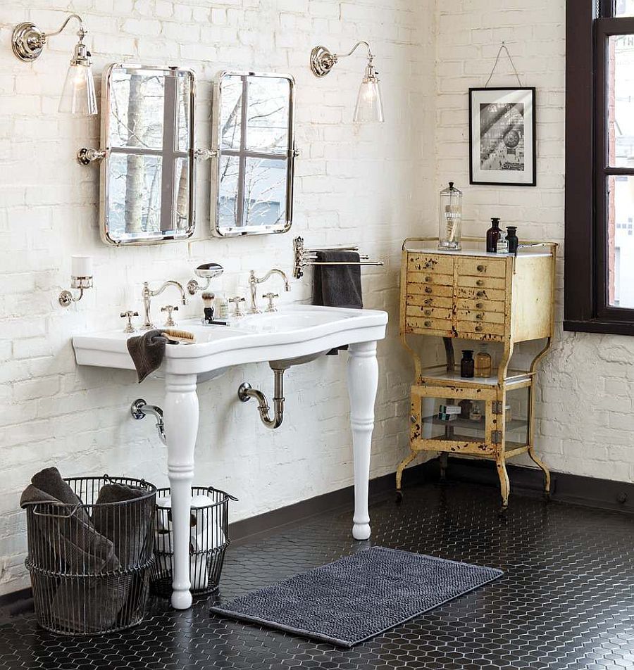 Vintage style coupled with the spa-inspired look in the modest white bathroom