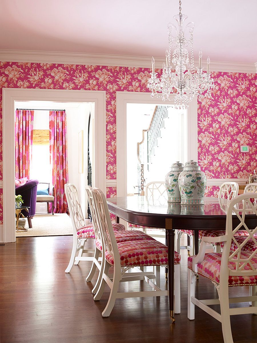 Wallpaper, drapes and chairs brig pink panache to the fabulous dining room