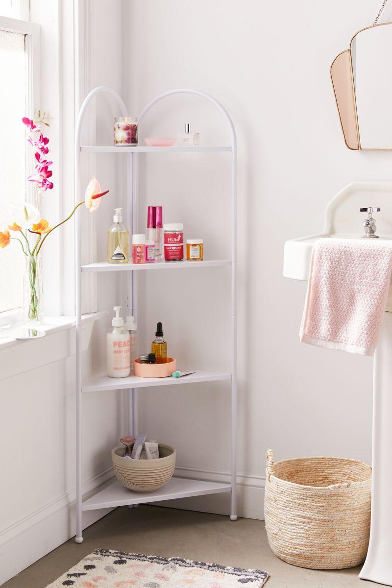 White metal corner shelf for the bathroom