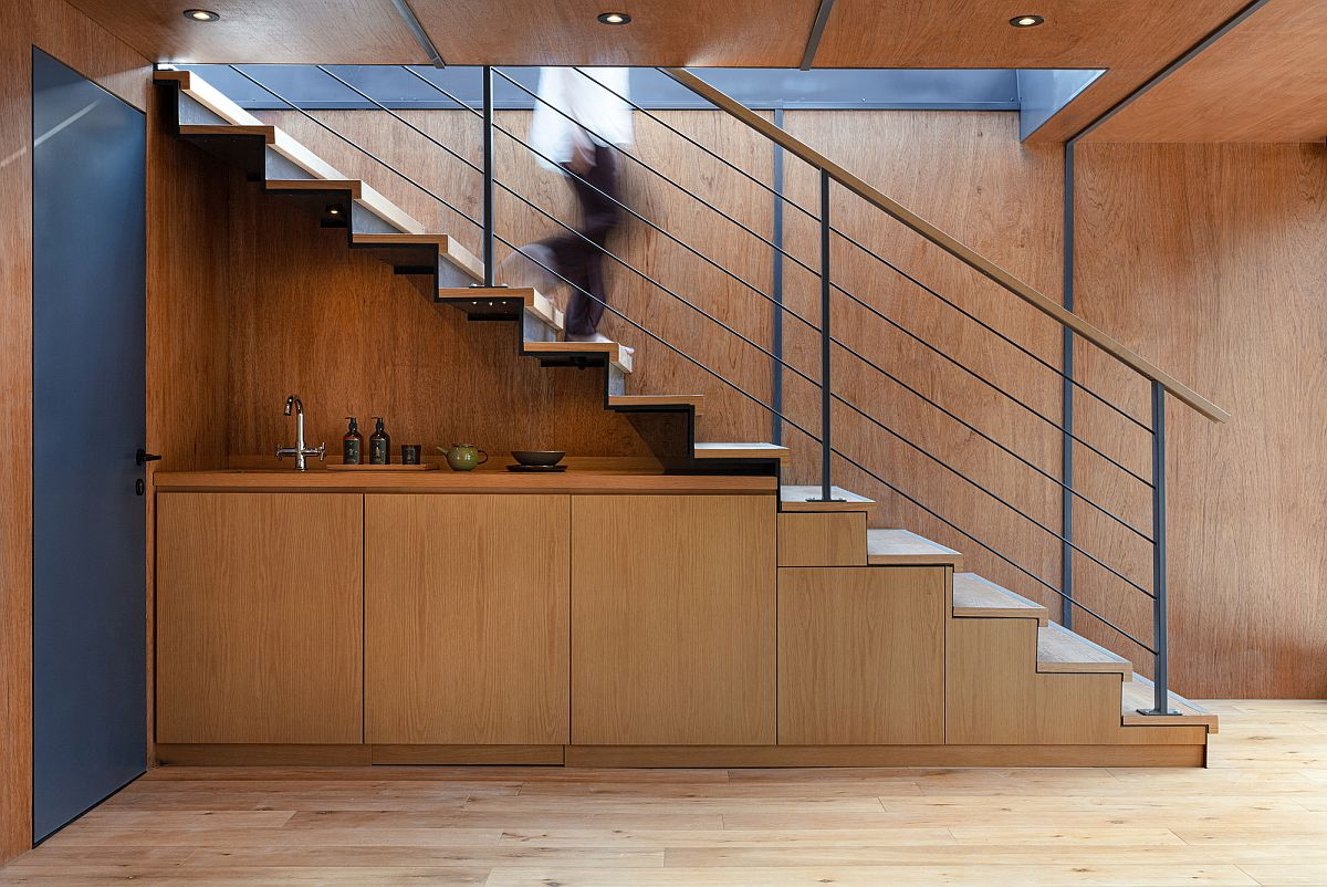 Wood and steel interior of the house with modern industrial element and pleny of natural light