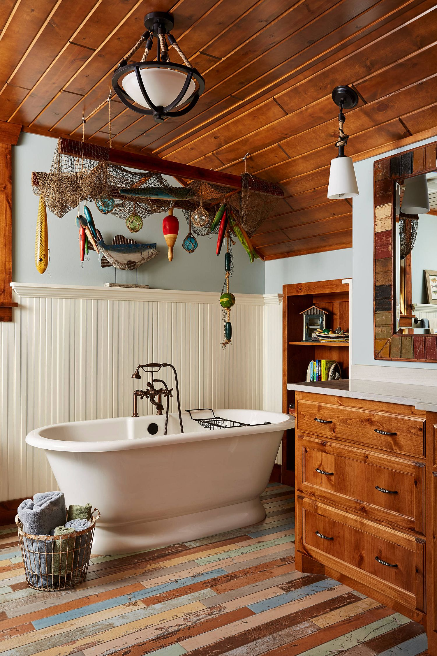 Wood brings warmth to even the bathroom in white with rustic charm