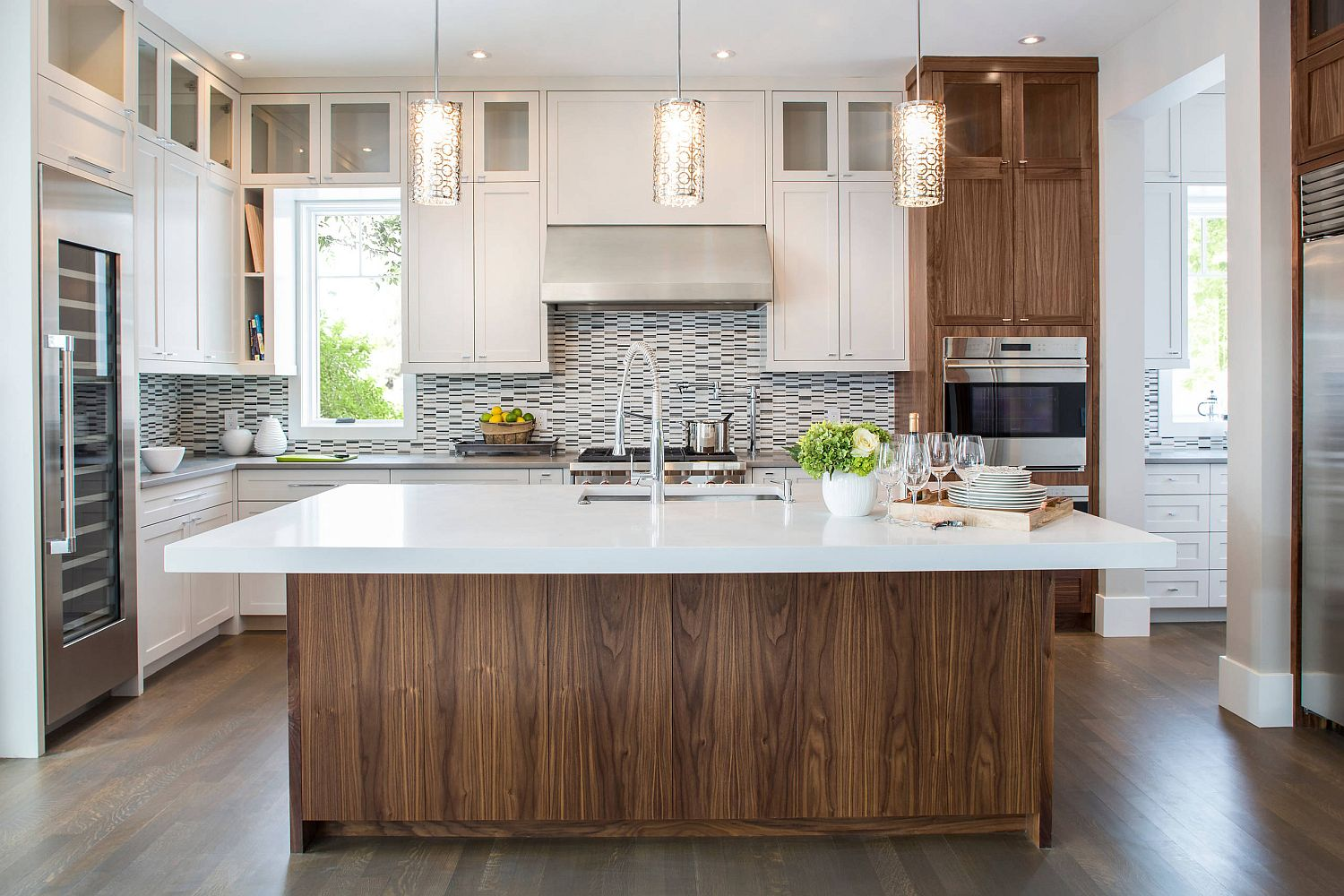 Wooden cabinets in the kitchen complement the island's woodsy charm perfectly