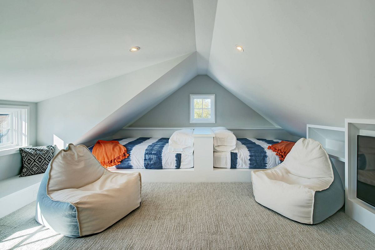 Attic bedroom with twin beds can also be a fun hangout