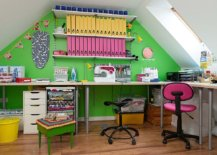 Attic-home-office-with-a-striking-green-accent-walls-and-brilliant-pops-of-yellow-and-pink-all-around-37732-217x155