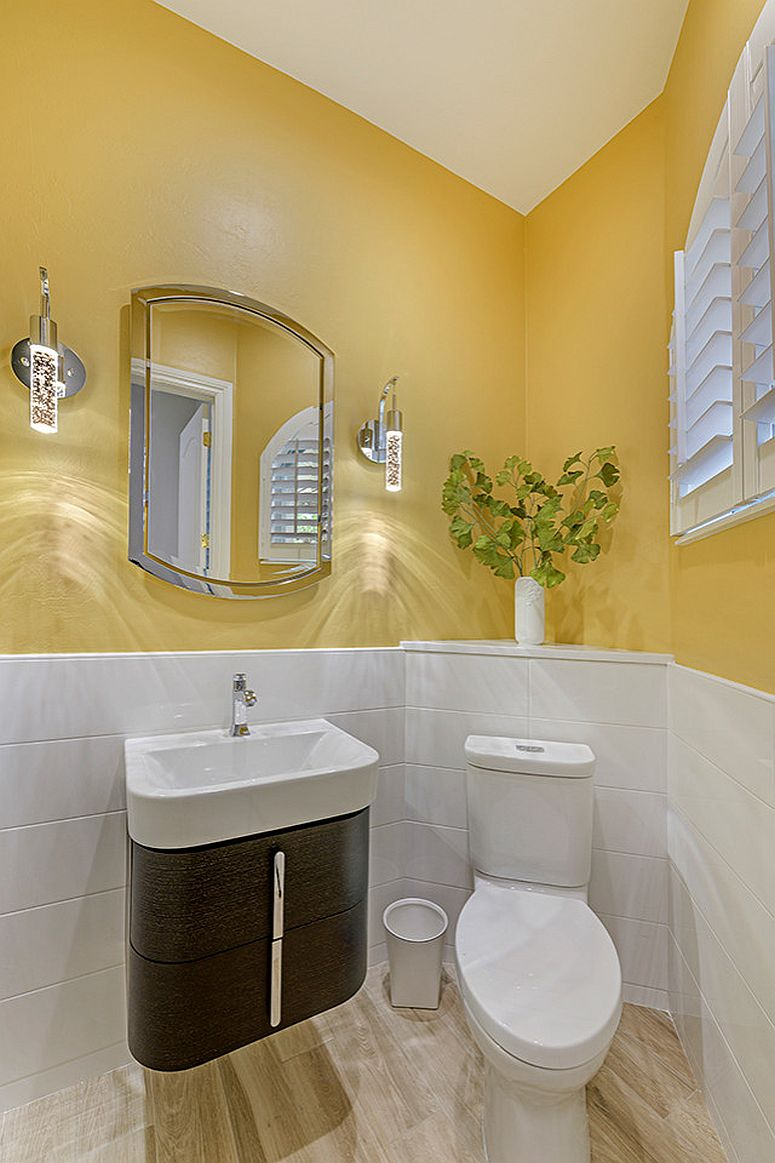 Beautiful balance between white and yellow in the powder room