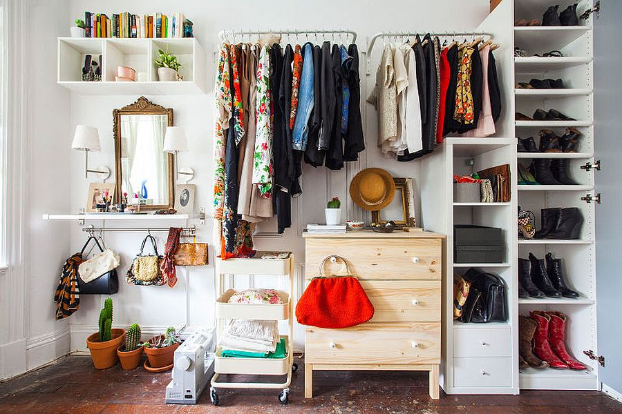 Beautiful closet inside Barcelona apartment feels both organized and creative