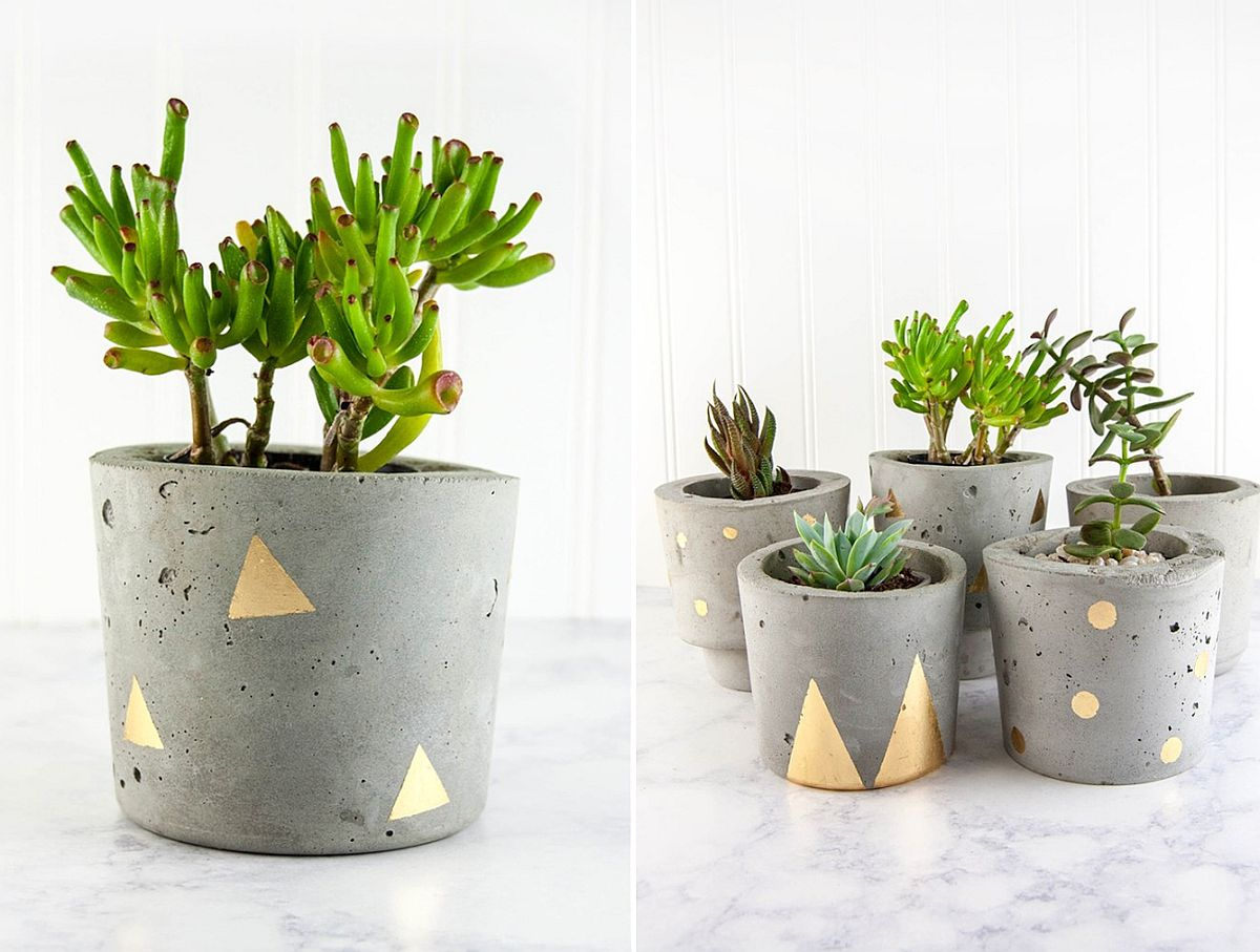 Beautiful concrete and gold planers are both sturdy and trendy!