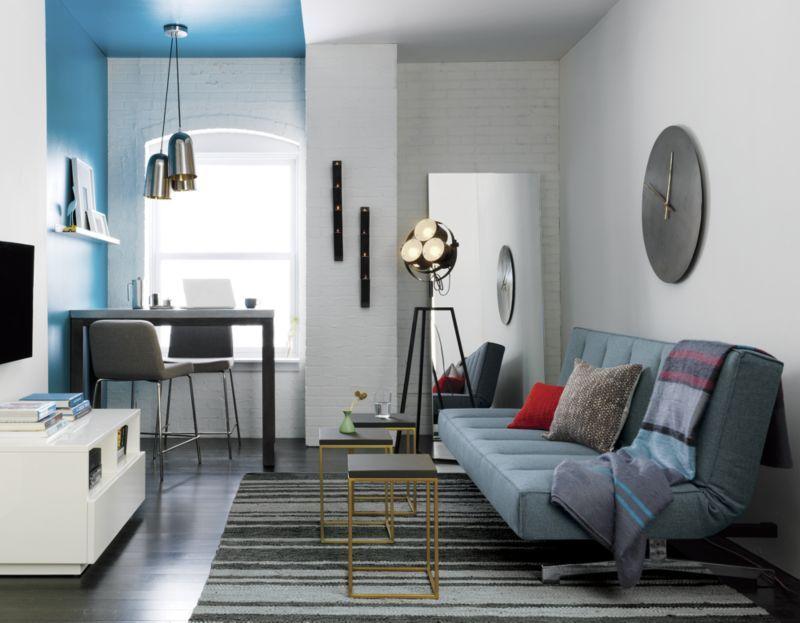 Blue sleeper sofa from CB2
