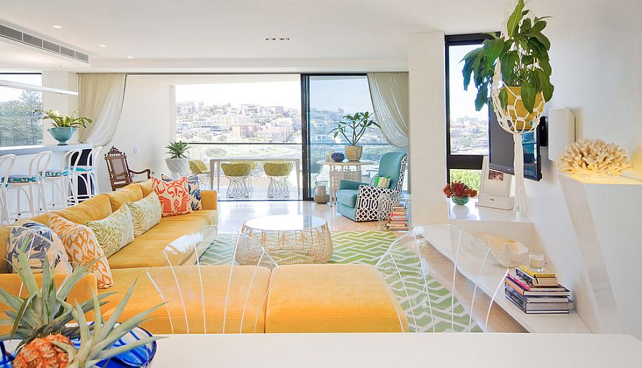 Bright colors of the 80's and pattern of boho beauty coupled with chic bakdrop in the living room