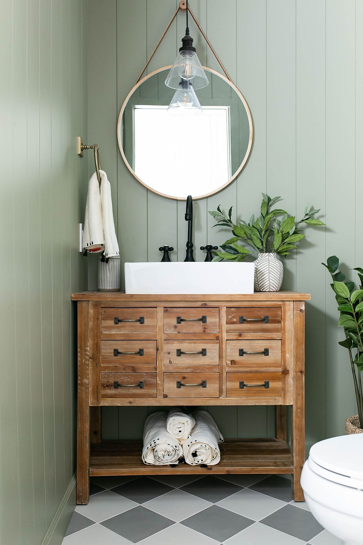 Brilliant blend of pastel blue and wooden vanity in the classy farmhouse vanity