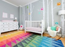 Brilliant-multi-colored-rug-for-the-modern-nursery-with-walls-in-gray-26669-217x155