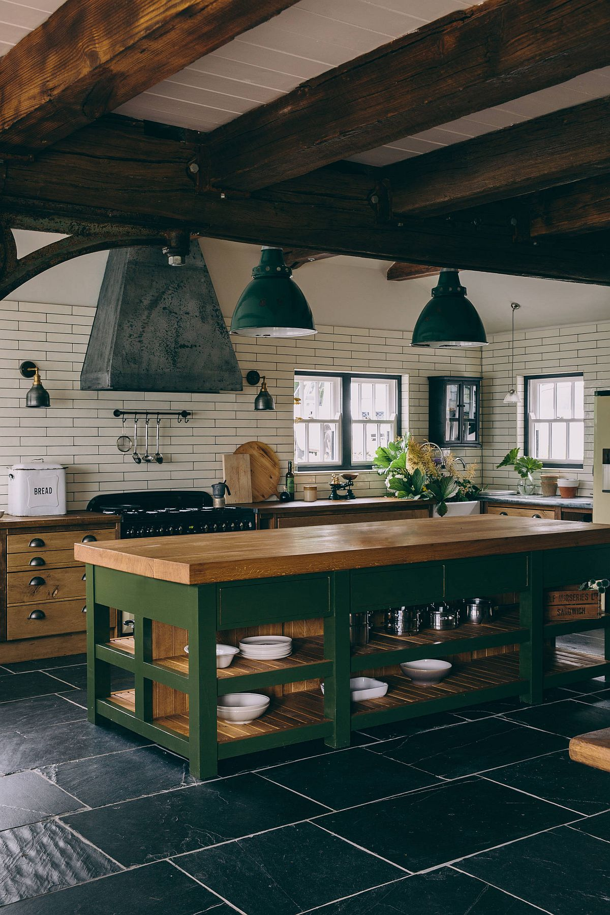 Brilliant-use-of-green-in-the-rustic-kitchen-with-wooden-countertops-and-ceiling-beams-94509