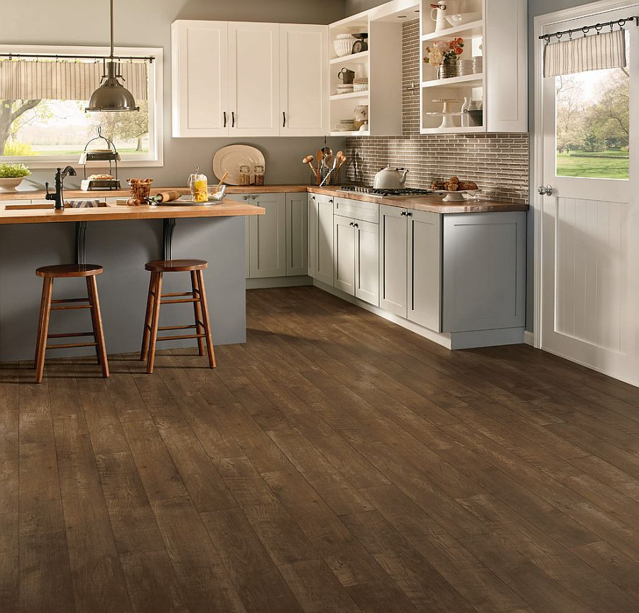 Classic hardwood floors for the modern rustic kitchen in white make an impact