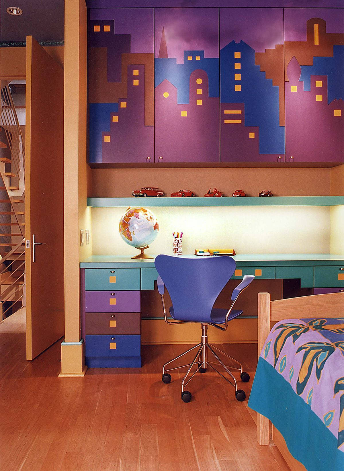 Colorful version of city skyline makes an impact in this kids' room