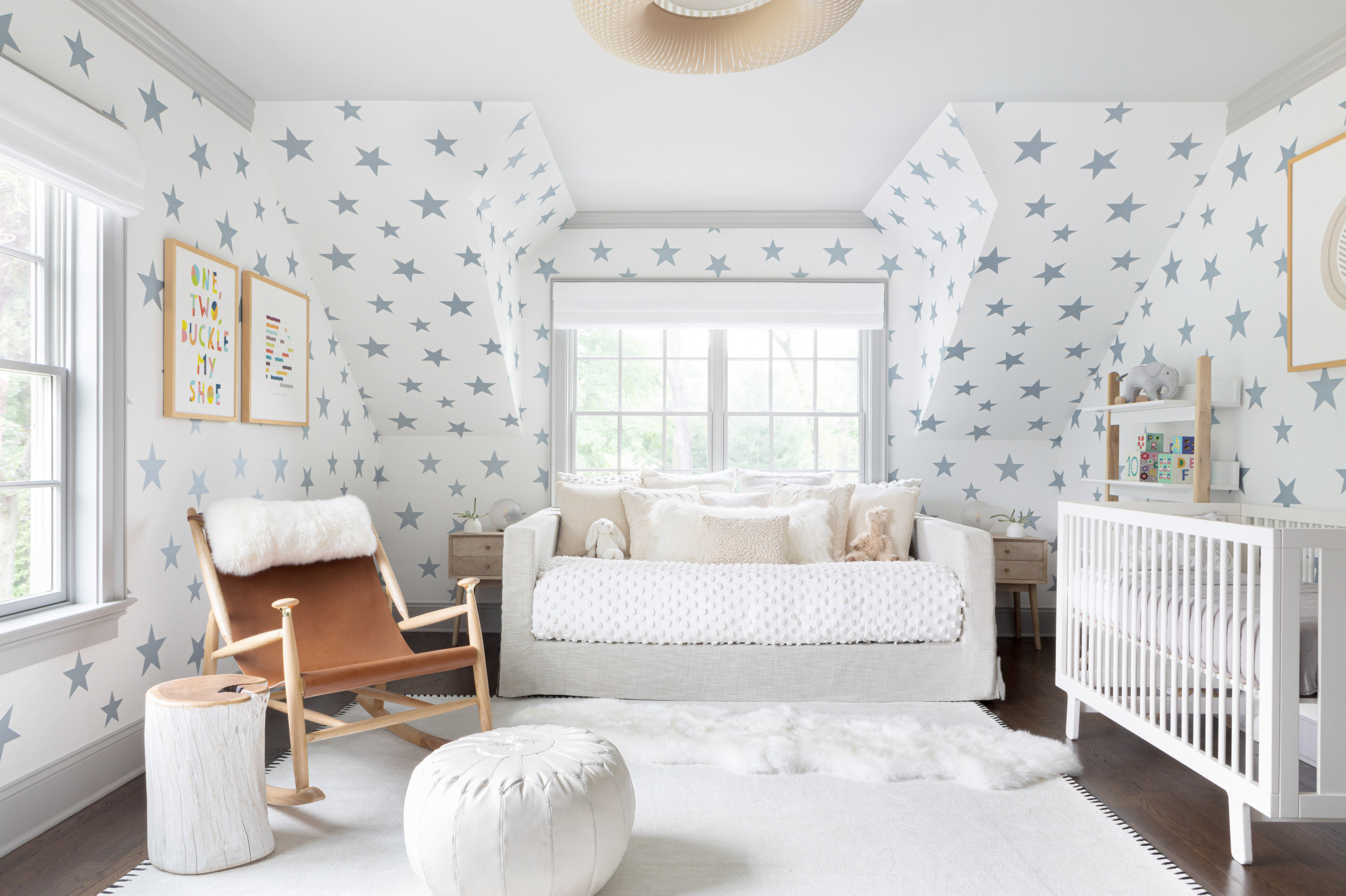 Contemporary nursery of New York home with a unique star-filled backdrop