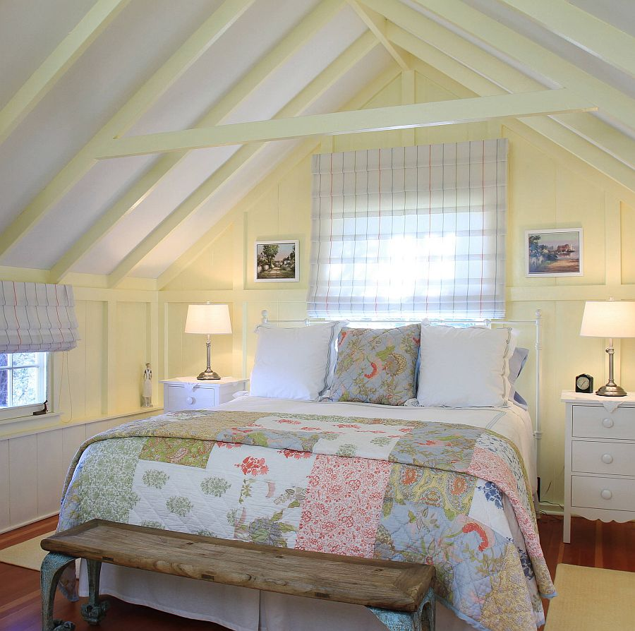 Cottage beach style attic bedroom in white and yellow looks just picture-perfect