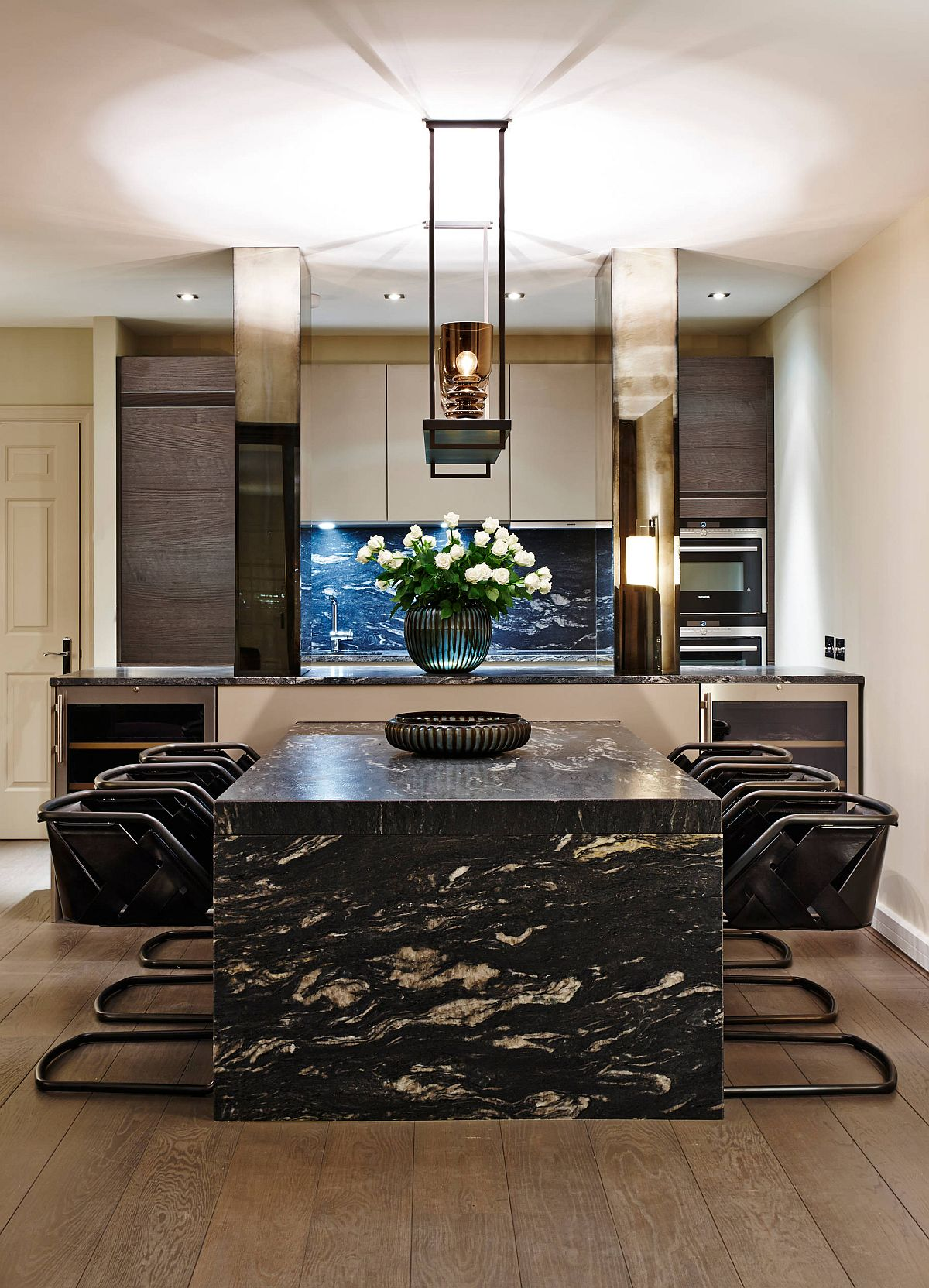 Custom marble dining table with unique design is a showstopper