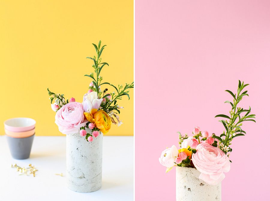 DIY Concrete vase is a showstopper no matter where it sits