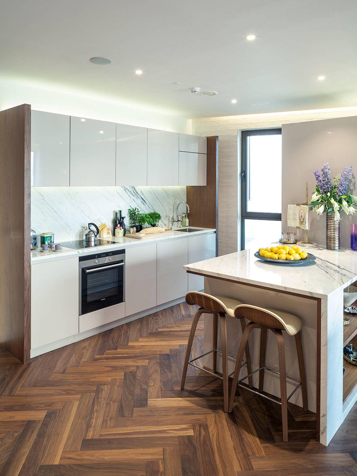 Dark hardwood floor in chevron pattern for contemporary kitchen with smart design