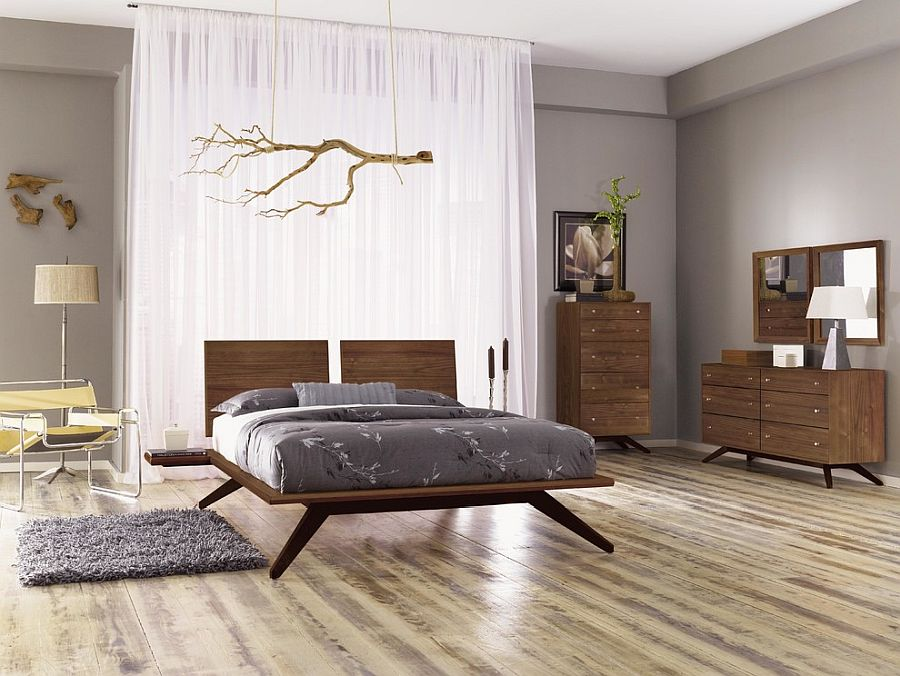 Dashing platform bed with unique design and a bedroom ambiance that adds to its appeal