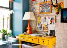Eclectic-mix-of-fabulous-yellow-desk-and-bright-orange-table-lamp-inside-modern-New-York-home-office-78818-217x155