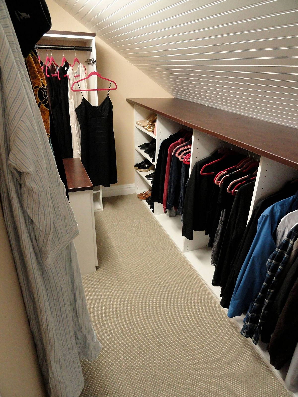 Even the modest attic bedroom can have a dashing closet of its own!