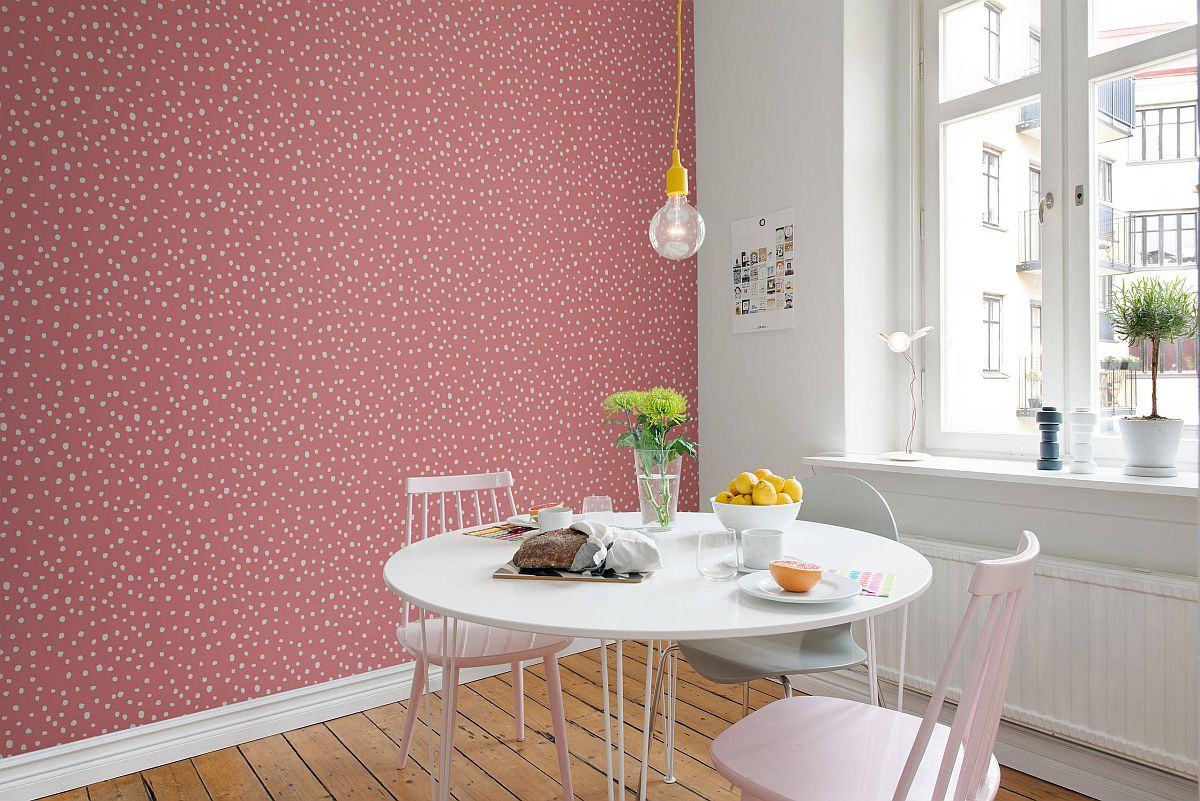 Eye-catching-pink-accent-wall-for-the-dining-room-with-simple-Edison-bulb-lighting-11733