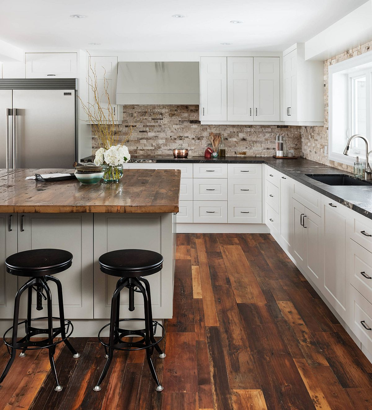 Eye-catching reclaimed wood floors for the kitchen can offer a practical and cost-effective solution