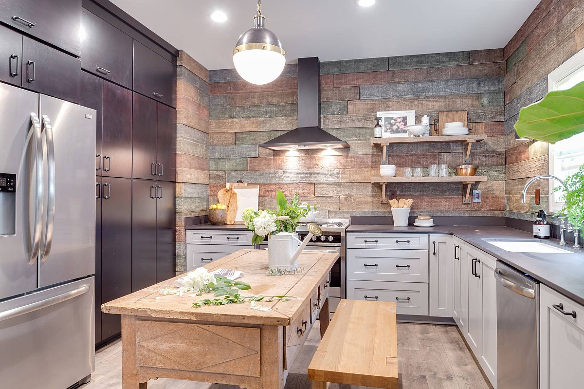 Finding space for wood beyond just the kitchen floor to give the rustic kitchen a comfy vibe
