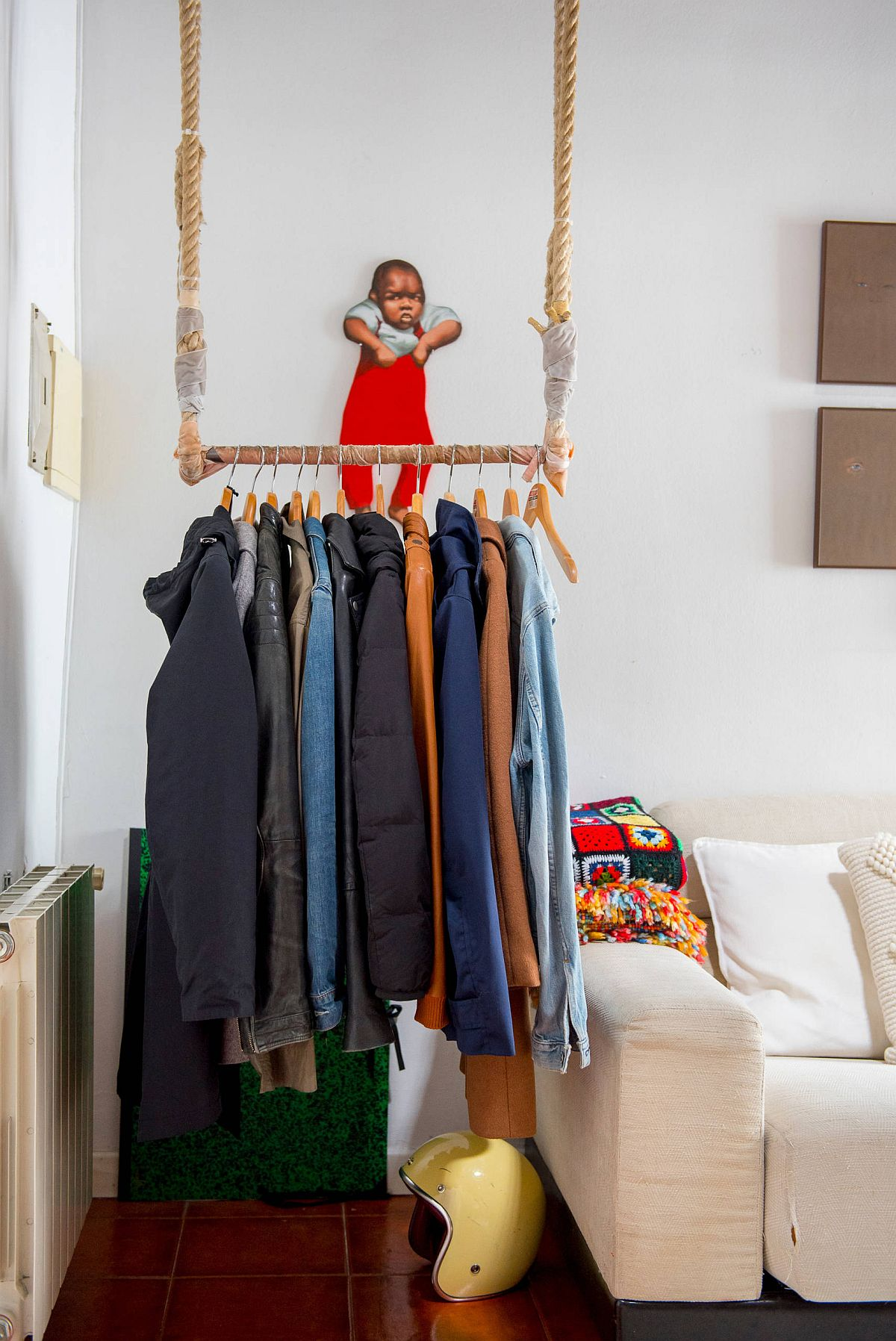 Fun hanging rod can provide a closet all on its own!