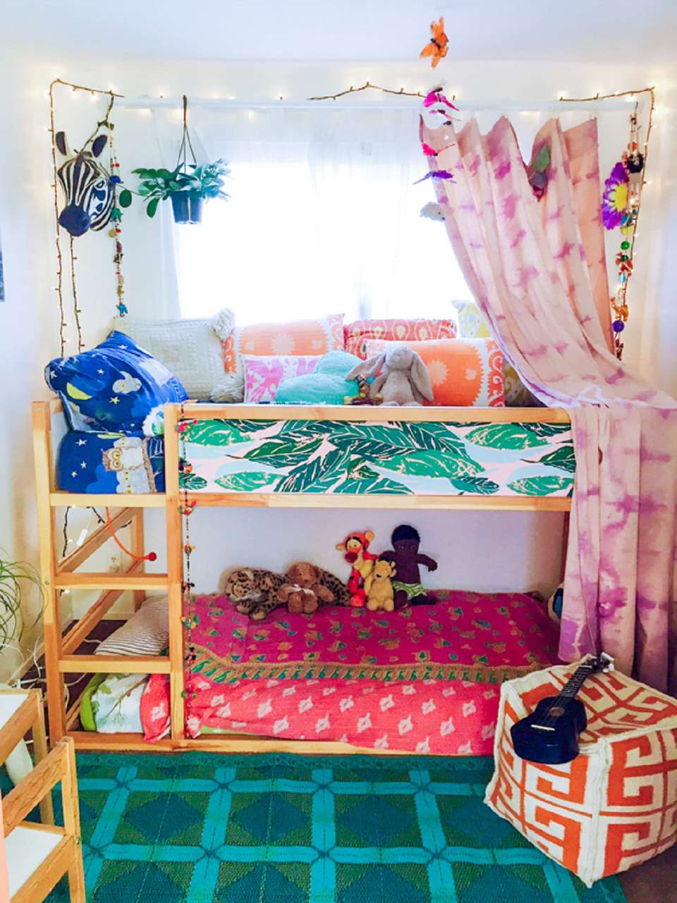 Fun pattern play in a girls' bedroom