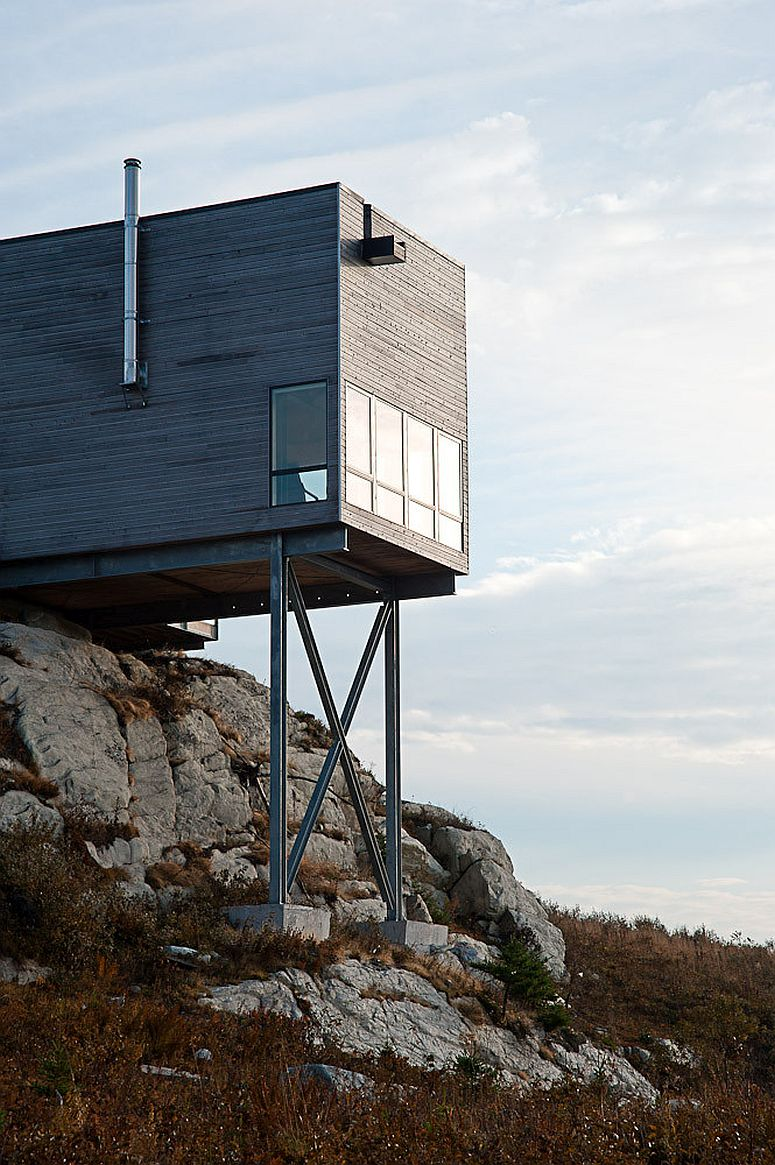 Galvanized steel structure supports the cabine with a view of the Atlantic