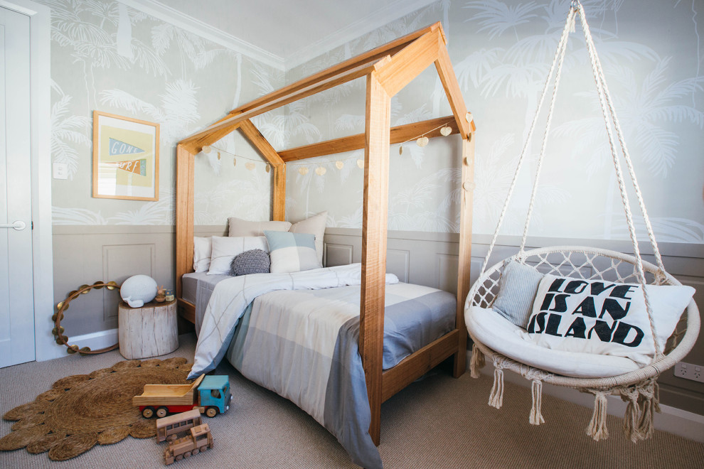 Get creative with the bed frame and other decor in the neutral nursery in white and wood