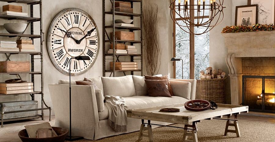 Giant clock on the wall and vintage decor take you back in time as you step into this lovely living space