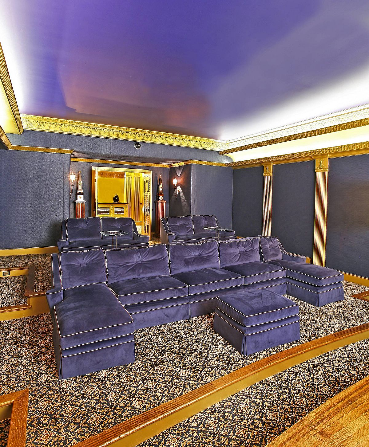Gold and purple eclectic style home theater feel absolutely regal!
