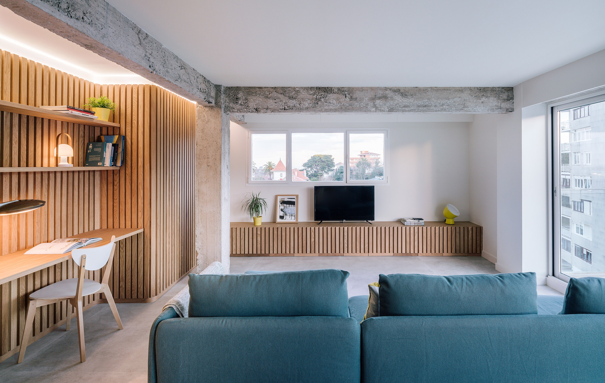 Gorgeous new interior of apartment in Santander, Spain with a concrete and wood interior