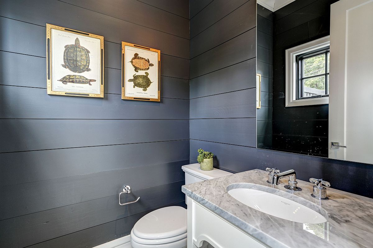 Gray is a trendy choice in the modern farmhouse powder room