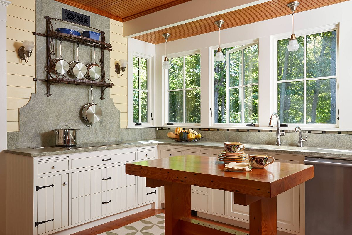 Kitchen island made from reclaimed timber adds an entirely different dimension to this lovely kitchen