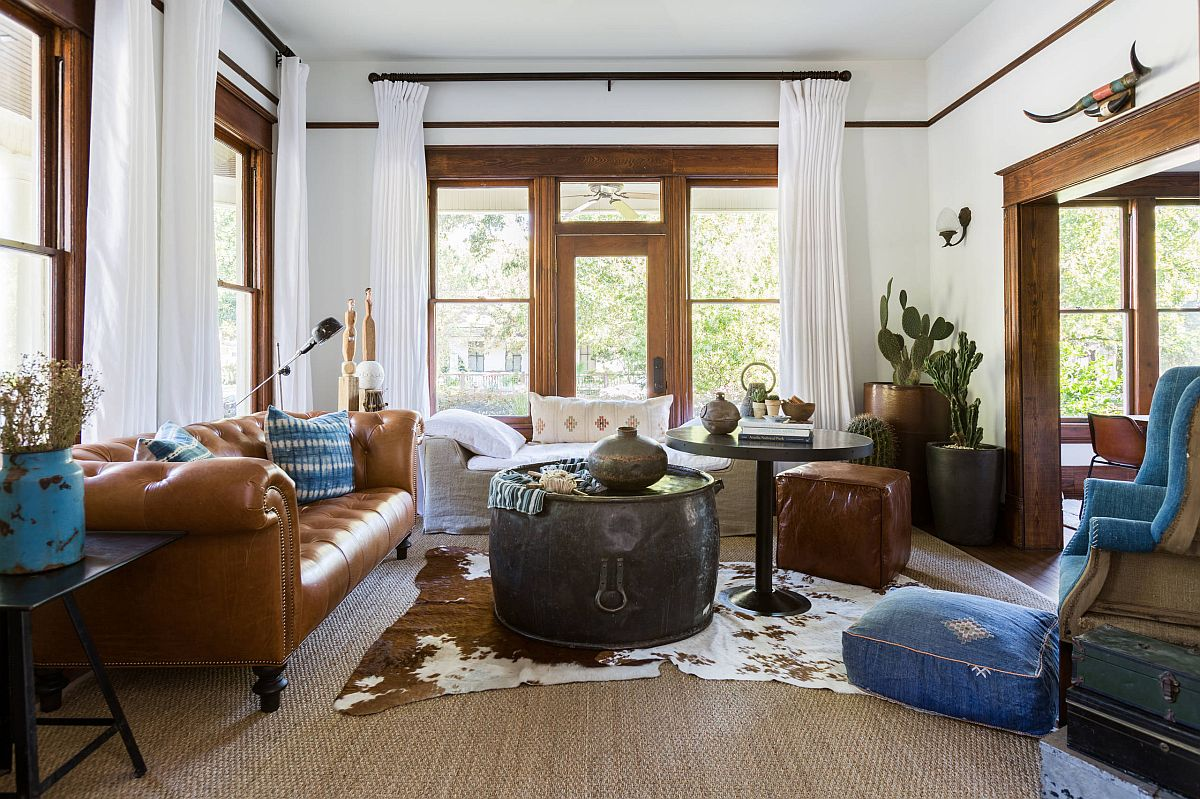 Leather makes the biggest impact in this eclectic modern living room