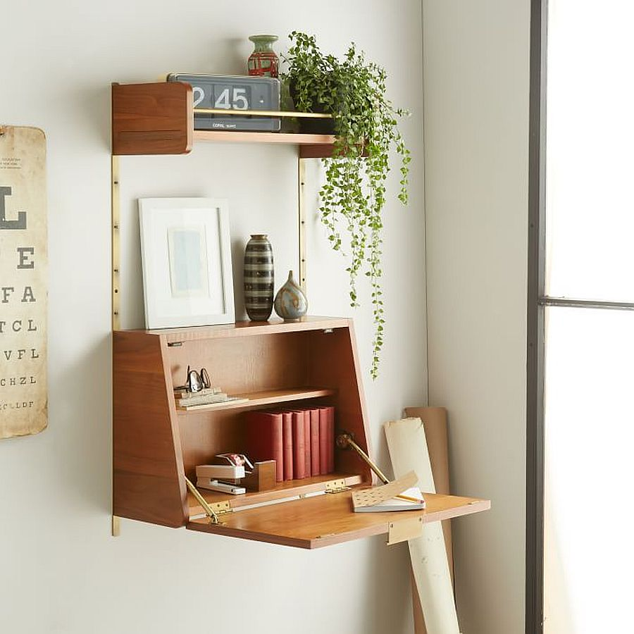 Lovely wooden folding desk in wood can be placed pretty much anywhere with ease