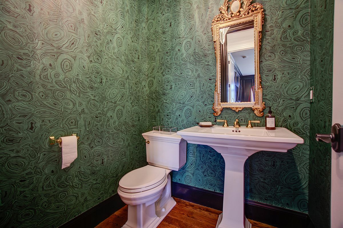 Malachite green wallpaper is a fun idea that you can try out in the powder room